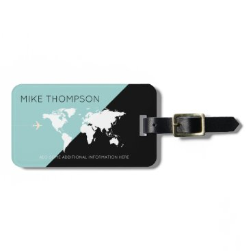 mixedworld elegant, modern & geometric world travel luggage tag
