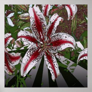 elegant modern girly  oriental lily floral poster
