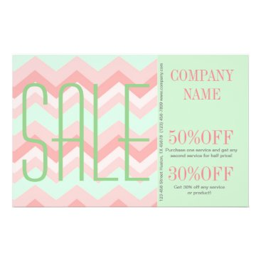 Professional Business elegant modern girly salon mint coral chevron flyer