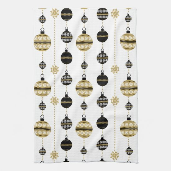 Elegant Modern Gold and Black Christmas Ornaments Kitchen Towel