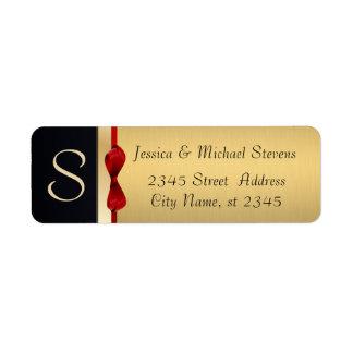 Elegant modern gold / black holiday return address label