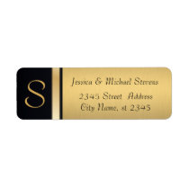 Elegant modern gold / black monogram wedding label