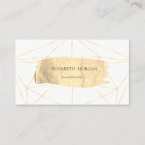 Elegant Modern Gold Brush Stroke Geometric,White Business Card