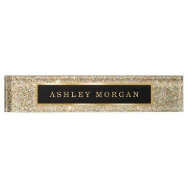 Lawyer Themed Elegant Modern Gold Glitter Sparkles Name Plate