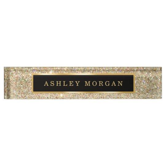 Elegant Modern Gold Glitter Sparkles Name Plate Zazzle Com
