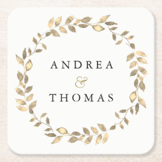Elegant Modern Gold Leaf Wreath Engagement Party Square Paper Coaster