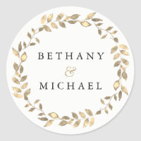 Elegant Modern Gold Leaf Wreath Wedding Name Classic Round Sticker