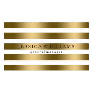 Elegant Modern Gold On White Stripes Business Card