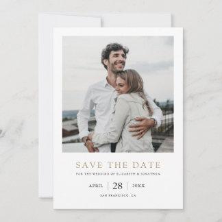 Elegant Modern Gold Photo Wedding Save the Date
