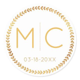 Elegant Modern Gold Rustic Wreath Monogram Wedding Classic Round Sticker