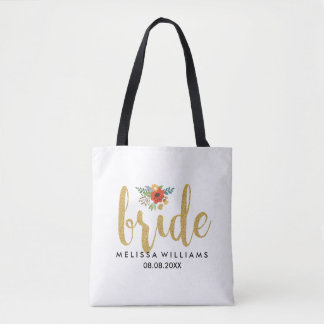 Elegant Modern Gold Text-Bride Floral Accent Tote Bag