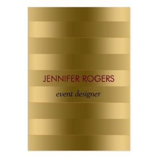 Elegant Modern Gold Tones Stripes Pattern Large Business Card