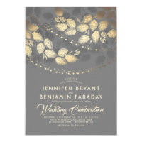 Elegant Modern Gold Tree Leaves and Lights Wedding Card