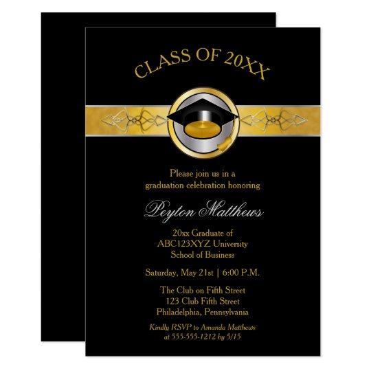 elegant modern gold university graduation invites zazzle com