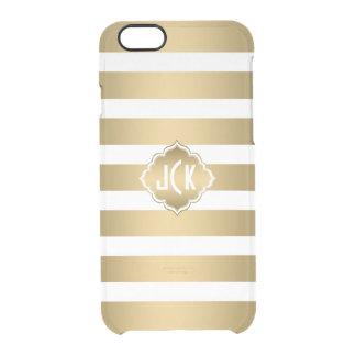 Elegant Modern Gold & White Stripes Pattern Clear iPhone 6/6S Case