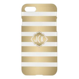 Elegant Modern Gold & White Stripes Pattern iPhone 7 Case