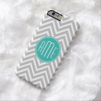 Elegant Modern Gray Chevron and Mint Monogram Barely There iPhone 6 Case