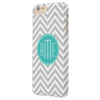 Elegant Modern Gray Chevron and Mint Monogram Barely There iPhone 6 Plus Case