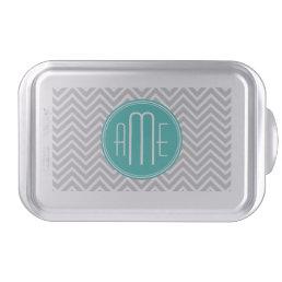 Elegant Modern Gray Chevron and Mint Monogram Cake Pan