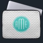 "Elegant Modern Gray Chevron and Mint Monogram Computer Sleeve<br><div class=""desc""></div>"