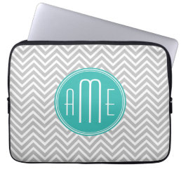 Elegant Modern Gray Chevron and Mint Monogram Computer Sleeve