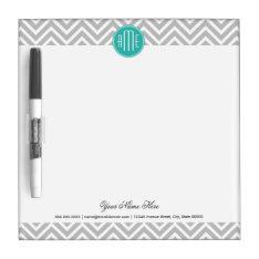 Elegant Modern Gray Chevron And Mint Monogram Dry-erase Board at Zazzle