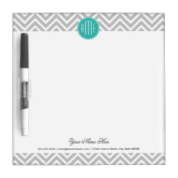 Elegant Modern Gray Chevron and Mint Monogram Dry-Erase Board