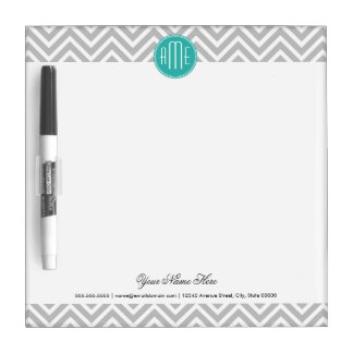 Elegant Modern Gray Chevron and Mint Monogram Dry Erase Whiteboard