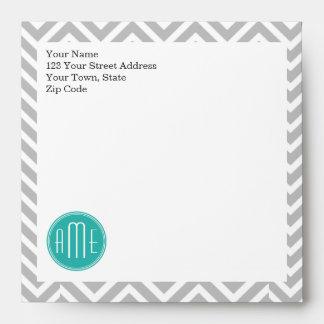 Elegant Modern Gray Chevron and Mint Monogram Envelope
