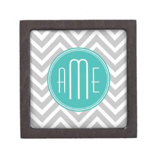 Elegant Modern Gray Chevron and Mint Monogram Gift Box