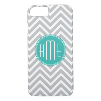 Elegant Modern Gray Chevron and Mint Monogram iPhone 7 Case