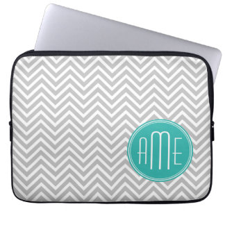 Elegant Modern Gray Chevron and Mint Monogram Laptop Sleeve