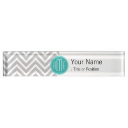 Elegant Modern Gray Chevron and Mint Monogram Name Plate