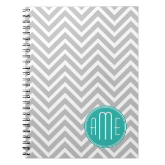Elegant Modern Gray Chevron and Mint Monogram Notebook