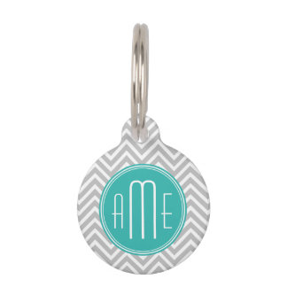 Elegant Modern Gray Chevron and Mint Monogram Pet Tag