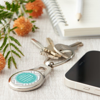Elegant Modern Gray Chevron and Mint Monogram Silver-Colored Oval Metal Keychain