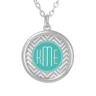 Elegant Modern Gray Chevron and Mint Monogram Round Pendant Necklace