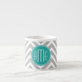 Elegant Modern Gray Chevron and Mint Monogram 6 Oz Ceramic Espresso Cup