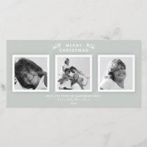 Elegant Modern Gray Green 3 Photo Merry Christmas Holiday Card