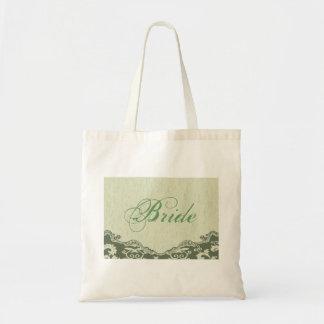 elegant modern Green Floral country bride Tote Bag