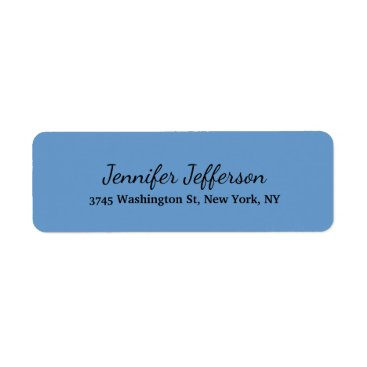 Professional Business Elegant Modern Handwriting Plain Grey Blue Label