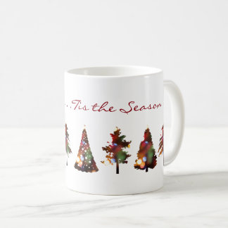 Elegant modern homey Christmas trees with lights Coffee Mug