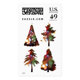 Elegant modern homey Christmas trees with lights Postage
