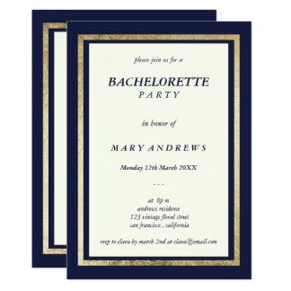 Elegant modern ivory navy blue gold Bachelorette Invitation