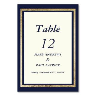 Elegant modern ivory navy blue gold Table Number