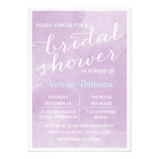 Elegant Modern Lavender Watercolor Bridal Shower Custom Announcements