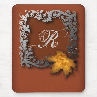 Elegant Modern Leaves Orange FallWedding Mouse Pad