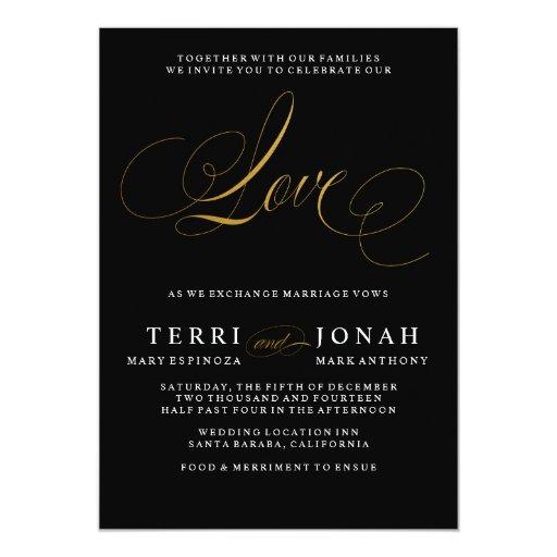 Elegant Modern Love Black Gold Wedding Invitation