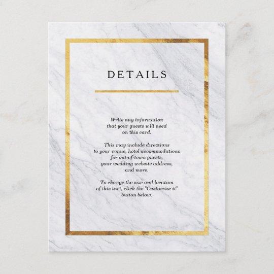elegant modern marble gold wedding insert cards zazzle com
