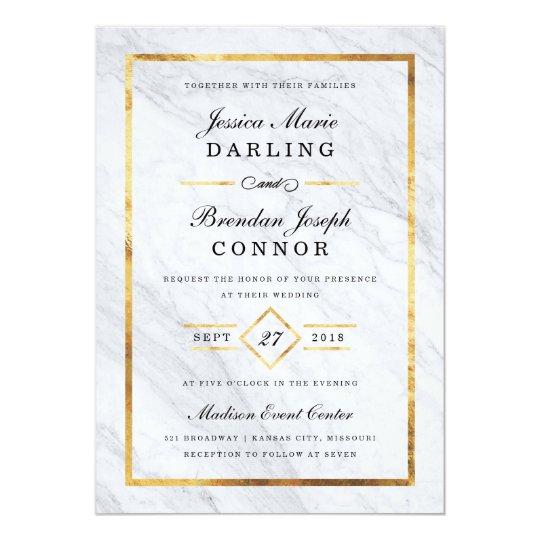 Elegant Modern Marble & Gold Wedding Invitations   Zazzle.com